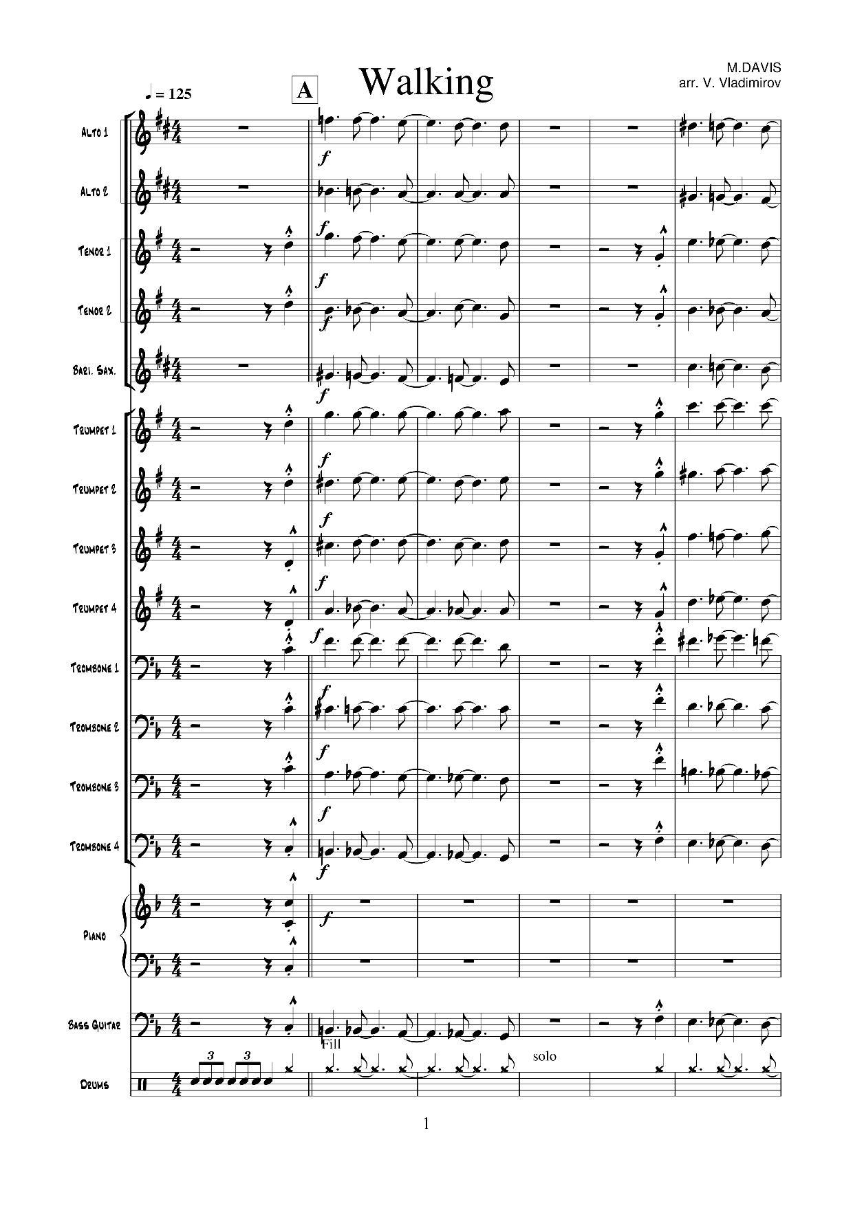 M.Davis Walking (arr.V.Vladimirov) page1